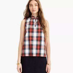 J. Crew Tartan Plaid Ruffle Neck Sleeveless Top